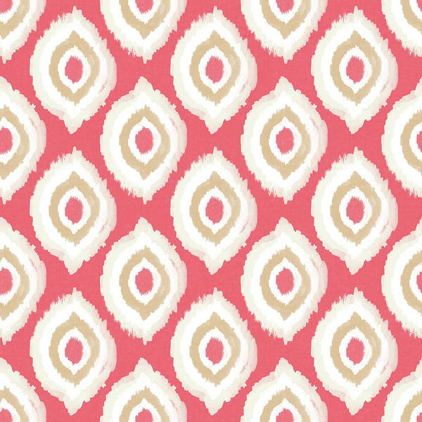 Pretty Mixed Media - Coral Ikat Design- Art By Linda Woods by Linda Woods
