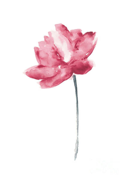 Pink Lotus Wall Art - Painting - Coral Lotus Watercolor Shabby Chic Wall Decor, Lotus Flower Set by Joanna Szmerdt