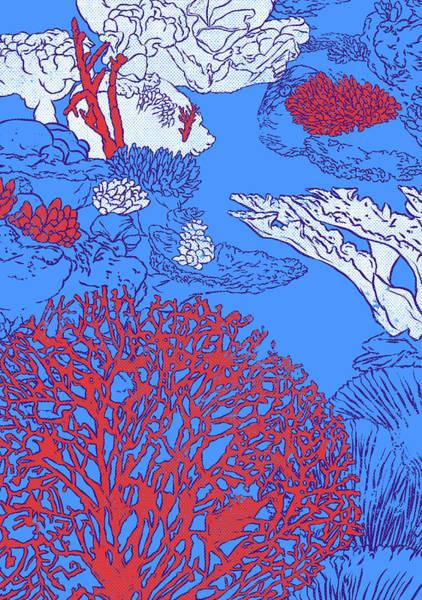 Reef Diving Digital Art - Coral Reef by Evgenia Chuvardina