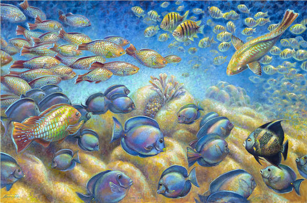 Wall Art - Painting - Coral Reef Life Silvers by Nancy Tilles