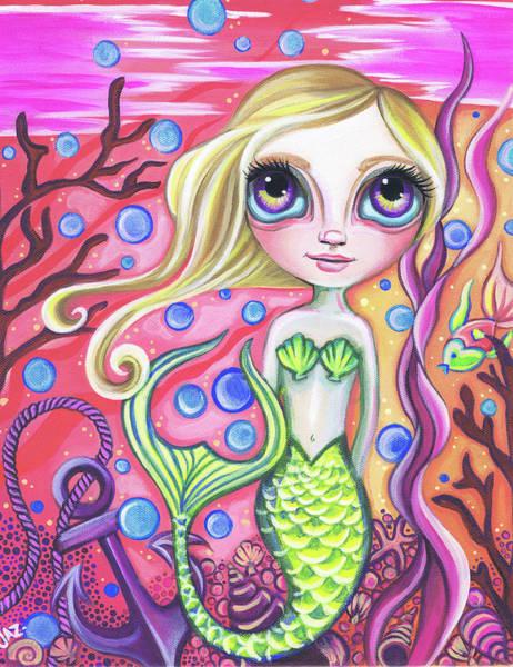 Little Mermaid Wall Art - Painting - Coral Reef Mermaid by Jaz Higgins