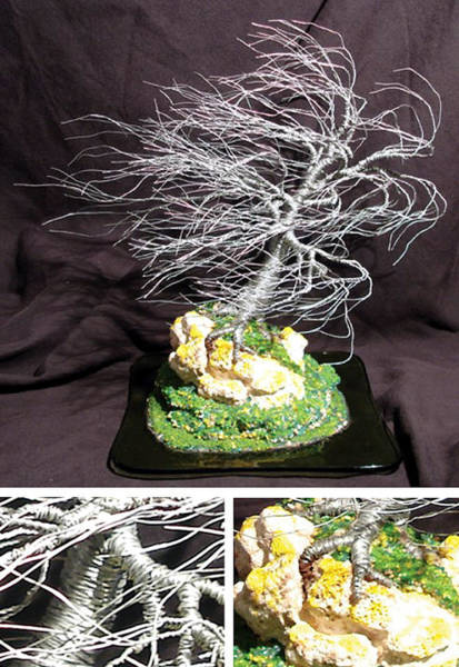 Jade Mixed Media - Coral Wind Swept Wire Tree Sculpture by Sal Villano