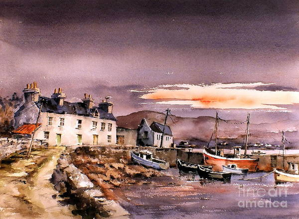 Painting - Evening Glow On Coraun Harbour, Mayo by Val Byrne