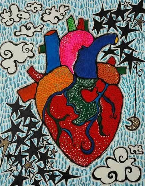 Primary Colors Drawing - Corazon by Sandra Perez-Ramos