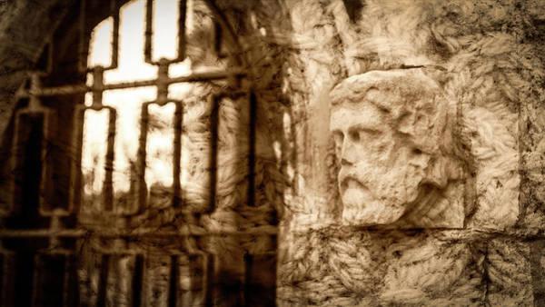 Photograph - Corbel Head In Sepia by Jacek Wojnarowski