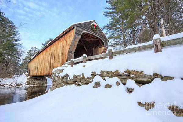 Photograph - Corbin Bridge Winter Newport New Hamsphire by Edward Fielding