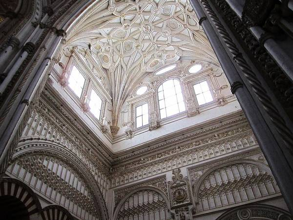 Cordoba Cathedral Ancient Ornate Ceiling Iv Spain Art Print