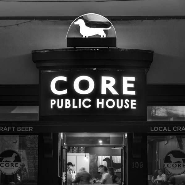 Core Wall Art - Photograph - Core Public House - Downtown Bentonville - Black And White by Gregory Ballos