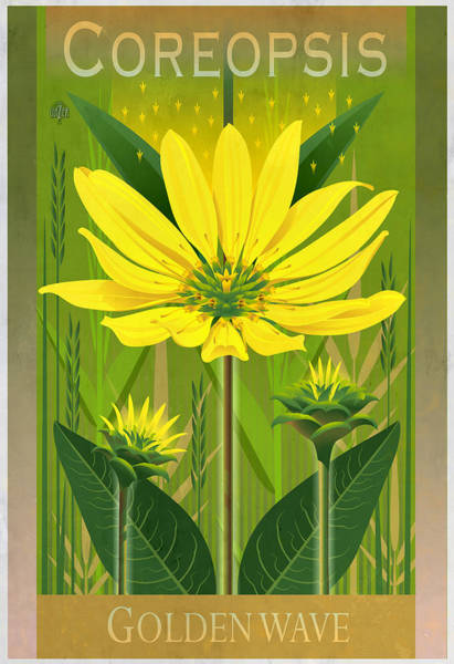 Native Garden Wall Art - Painting - Coreopsis Golden Wave Floral Poster by Garth Glazier