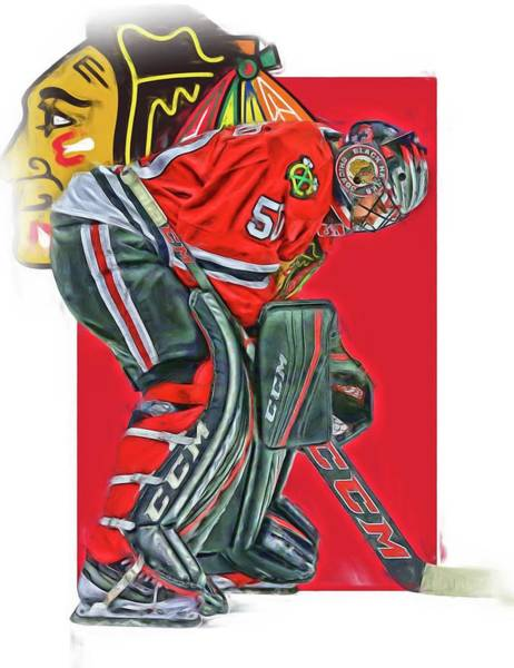 Wall Art - Mixed Media - Corey Crawford Chicago Blackhawks Oil Art by Joe Hamilton