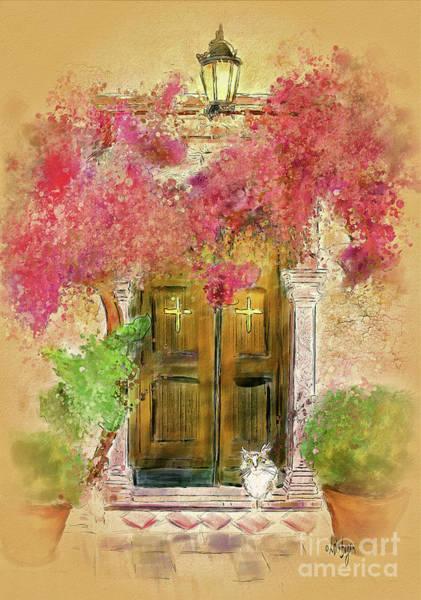 Doorway Digital Art - Corfu Kitty by Lois Bryan