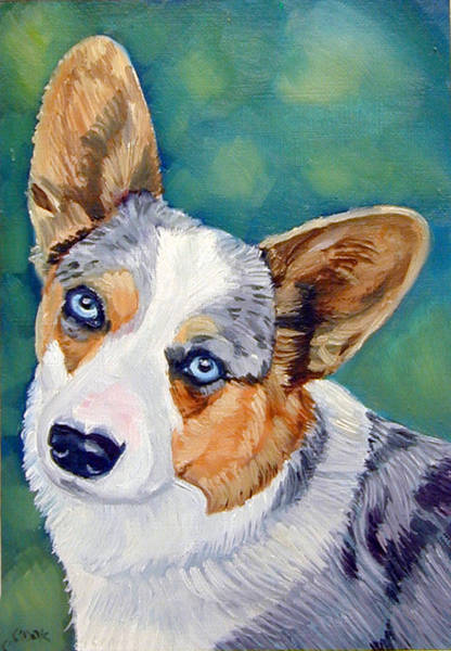 Wall Art - Painting - Corgi Blue Eyes by Lyn Cook