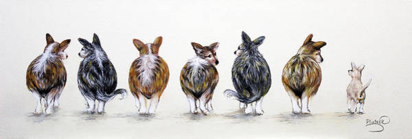 Painting - Corgi Butt Lineup With Chihuahua by Patricia Lintner