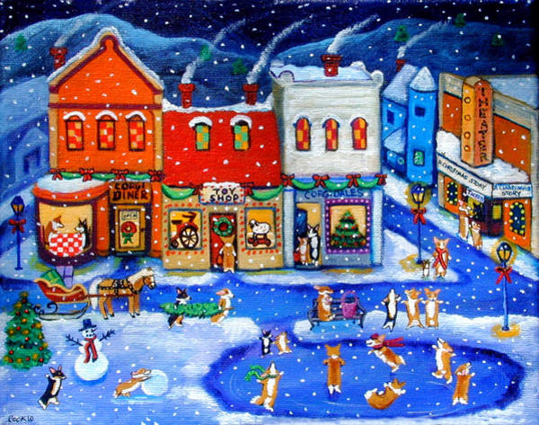 Skating Painting - Corgi Christmas Town by Lyn Cook