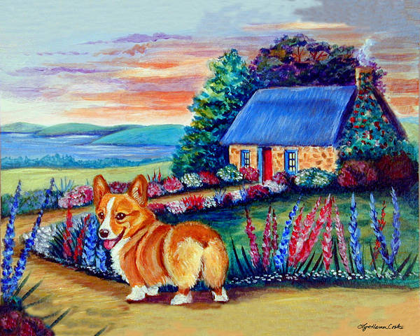 Wall Art - Painting - Corgi Cottage Sunrise by Lyn Cook