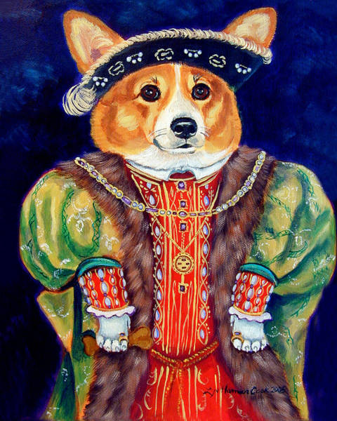 Wall Art - Painting - Corgi King by Lyn Cook