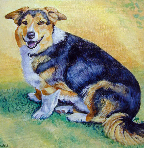 Wall Art - Painting - Corgi Mix Cooper by Lyn Cook