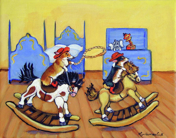 Wall Art - Painting - Pembroke Welsh Corgi Rainy Day Cowboys by Lyn Cook