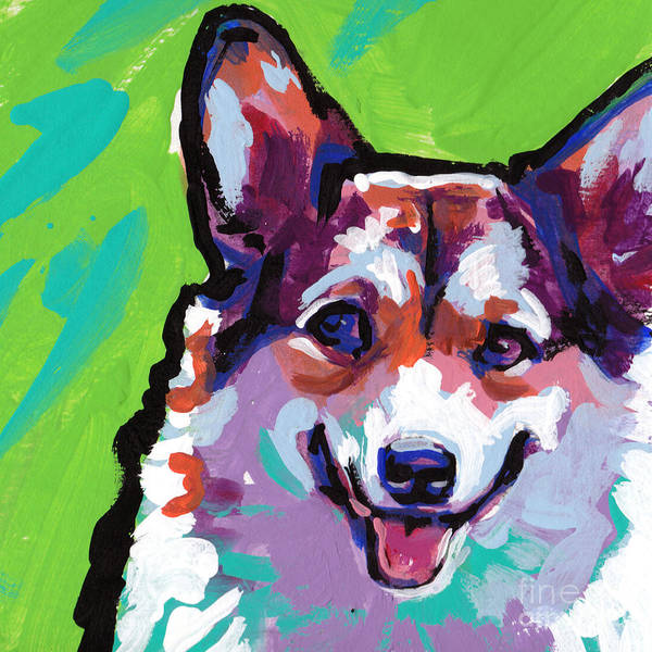 Welsh Painting - Corgi Smile by Lea S