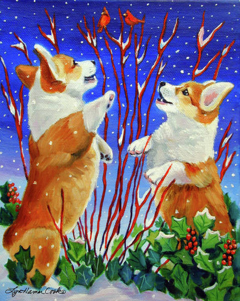 Wall Art - Painting - Corgi Snow Puppies by Lyn Cook