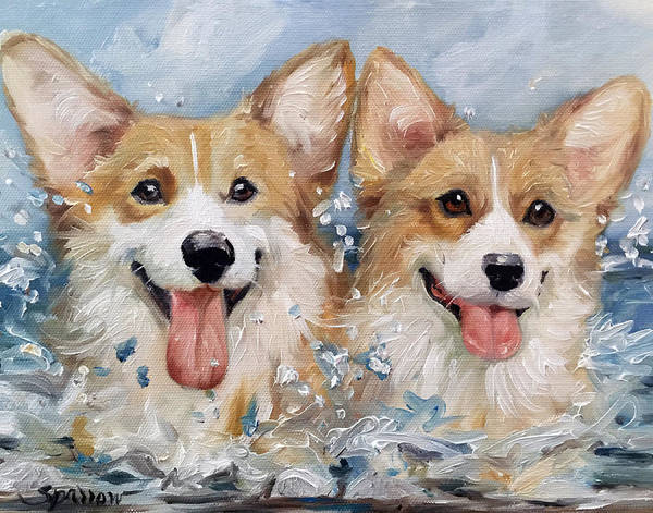 Wall Art - Painting - Corgi Splash by Mary Sparrow
