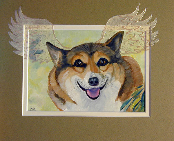 Wall Art - Painting - Corgi Wings Of An Angel by Lyn Cook