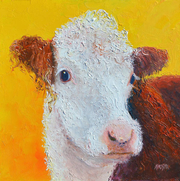 Cow And Calf Wall Art - Painting - Coriander The Cow by Jan Matson
