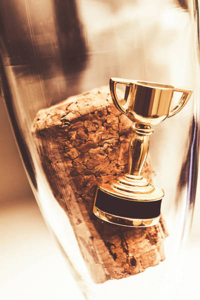 Wall Art - Photograph - Cork And Trophy Floating In Champagne Flute by Jorgo Photography - Wall Art Gallery