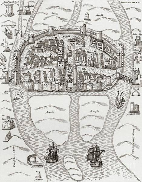 County Cork Wall Art - Drawing - Cork, County Cork, Ireland In 1633 by Irish School