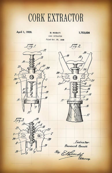 Cellar Digital Art - Cork Extractor Patent  1930 by Daniel Hagerman