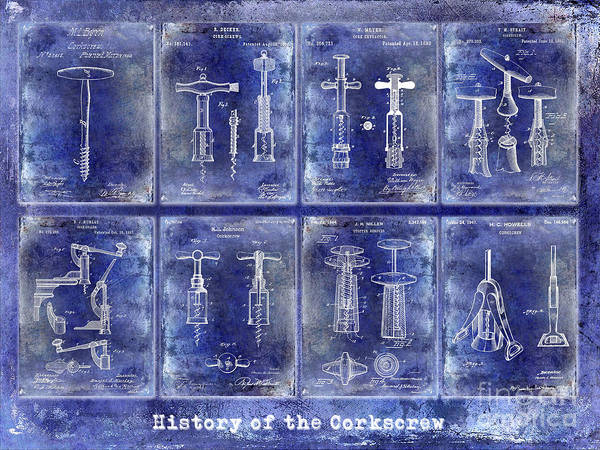 Wall Art - Photograph - Corkscrew Patent History Blue by Jon Neidert