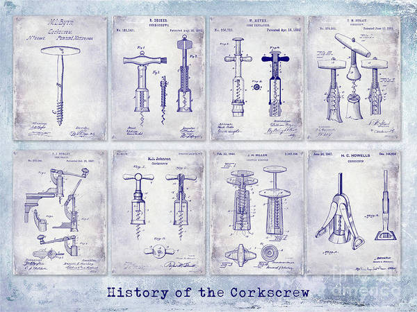 Wall Art - Photograph - Corkscrew Patent History Blueprint by Jon Neidert