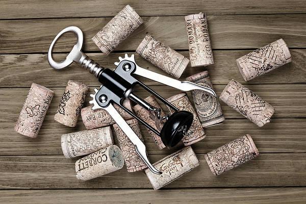 Corkscrew Wall Art - Photograph - Corkscrew With Wine Corks by Tom Mc Nemar
