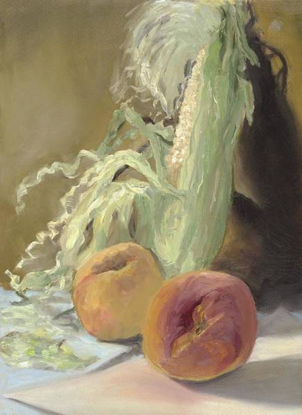 Husk Painting - Corn And Peaches by Katherine Farrell