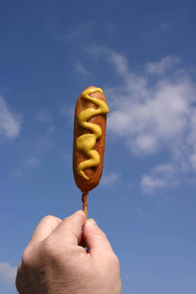 Dog Treat Photograph - Corn Dog In The Sky With Mustard by Michael Ledray