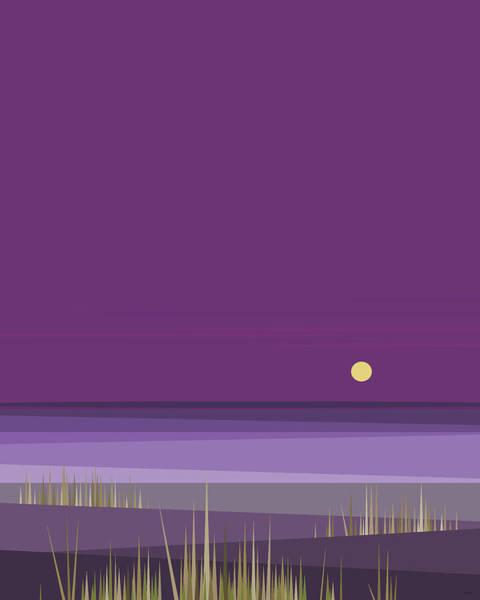 Digital Art - Corn Field Twilight Purple by Val Arie