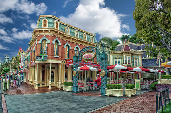 Clothier Photograph - Corner Cafe Main Street Disneyland 01 by Thomas Woolworth