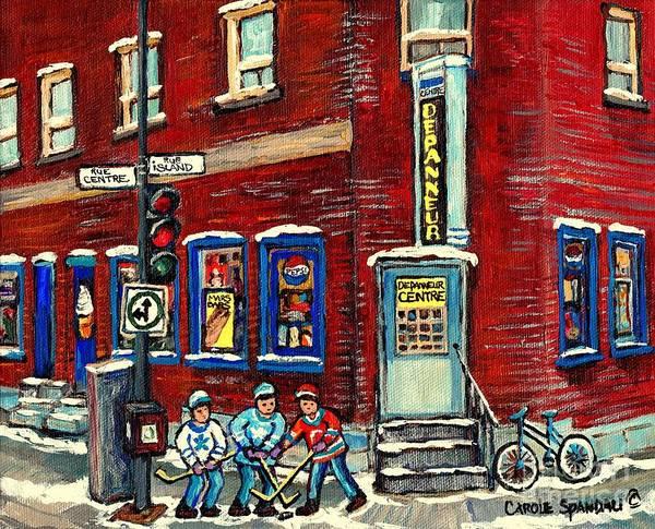 Painting - Corner Convenience Store Depanneur Centre Street Hockey Montreal Winter Scene Painting Canadian Art by Carole Spandau