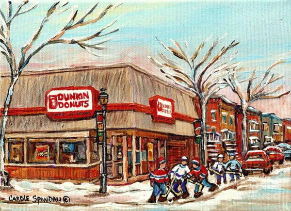 Painting - Corner Donut Shop Dunkin Donuts Verdun Street Hockey Montreal Winter Canadian Art Carole Spandau     by Carole Spandau