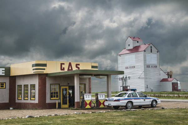 Photograph - Corner Gas Station And Grain Elevator by Randall Nyhof