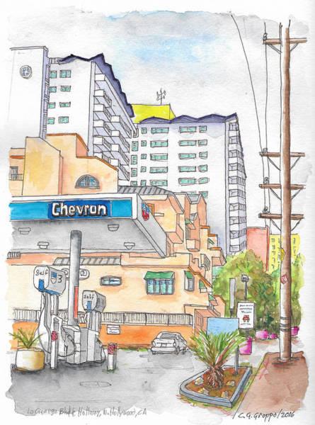 Gas Station Wall Art - Painting - Corner La Cienega Blvd. And Hallway, Chevron Gas Station, West Hollywood, Ca by Carlos G Groppa
