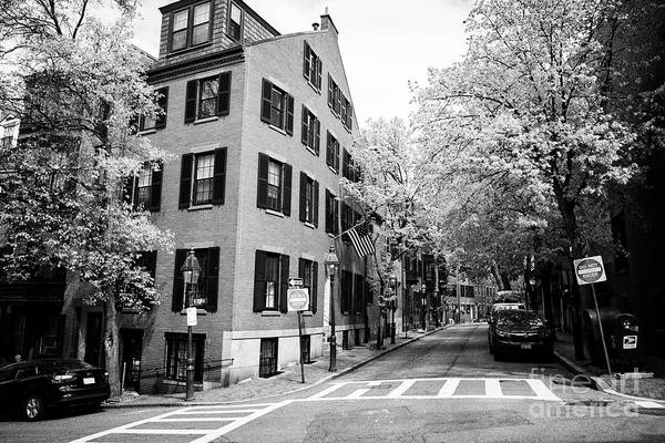 Wall Art - Photograph - corner of west cedar street and pinckney street beacon hill Boston USA by Joe Fox