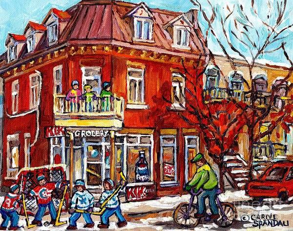 Painting - Corner Store Paintings Depanneur Hockey Art Canadian Winter City Scenes Carole Spandau               by Carole Spandau