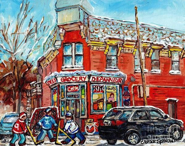 Painting - Corner Store The Point Depanneur Painting Quebec Hockey Art Carole Spandau by Carole Spandau