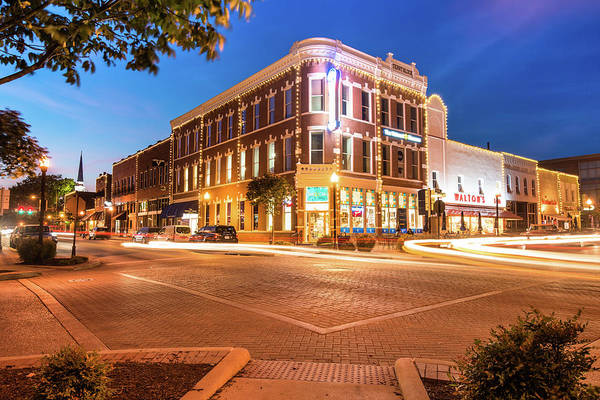 Corner Shop Wall Art - Photograph - Corner View - Downtown Bentonville Arkansas Town Square At Night by Gregory Ballos