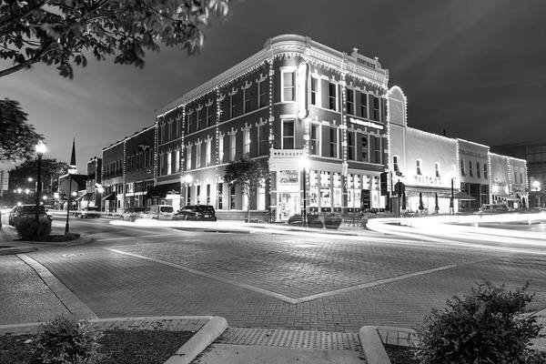 Corner Shop Wall Art - Photograph - Corner View In Black And White- Downtown Bentonville Arkansas Town Square At Night by Gregory Ballos