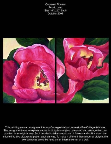 Wall Art - Painting - Cornered Flowers by Lauren  Pecor