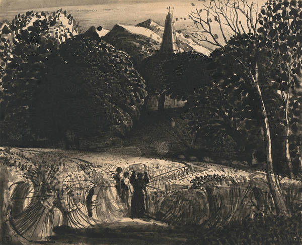 Drawing - Cornfield And Church By Moonlight by Samuel Palmer