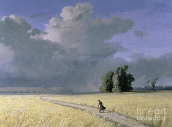 Lone Tree Painting - Cornfield Near Calais  by Josephine Bowes