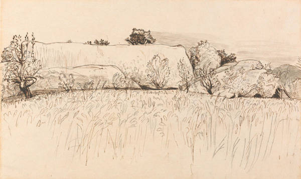 Drawing - Cornfields With Barn, Shoreham by Samuel Palmer